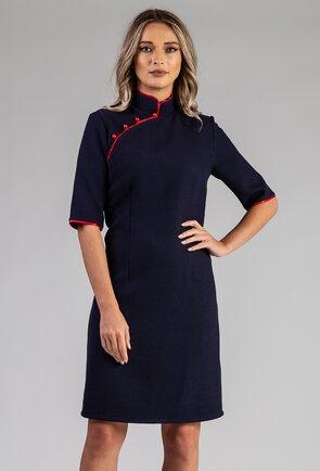 Rochie bleumarin cu guler tip tunica
