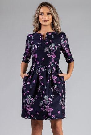 Rochie bleumarin cu imprimeu floral mov