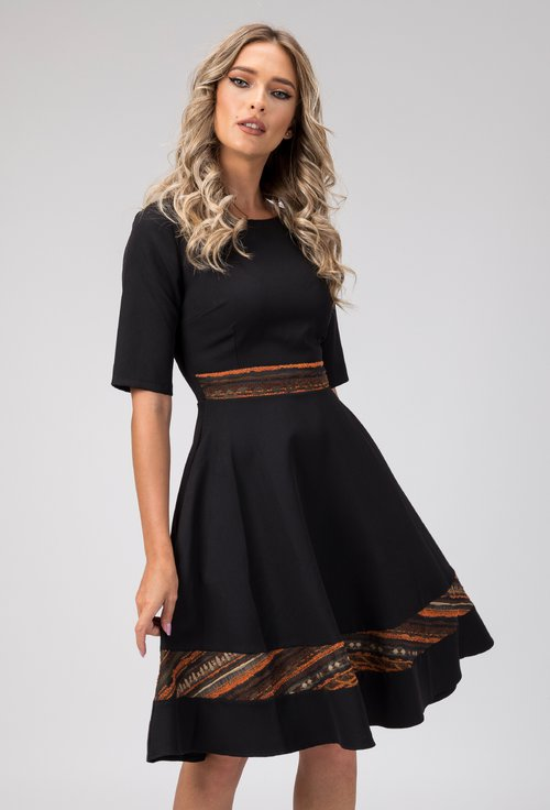 Rochie eleganta neagra cu detalii in nuante pamantii Kira