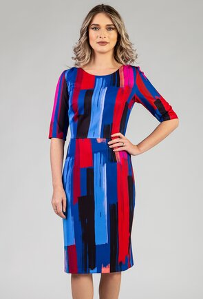 Rochie in nuante de albastru si rosu