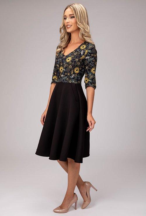 Rochie neagra cu buzunare si bumbac cu imprimeu floral