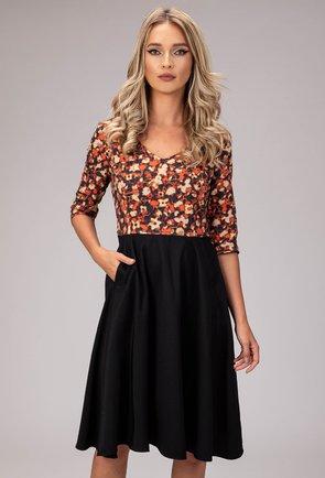 Rochie neagra cu buzunare si imprimeu floral portocaliu