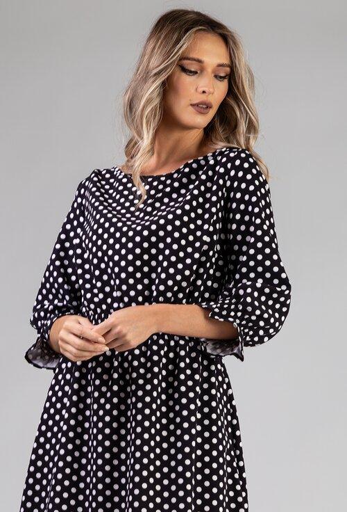 Rochie neagra cu imprimeu cu buline albe