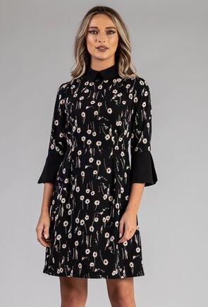 Rochie neagra cu imprimeu floral si maneca tip clopot