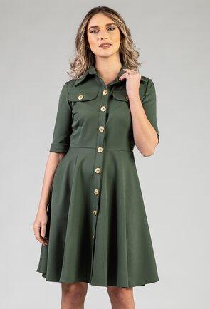 Rochie nuanta verde-kaki cu nasturi in fata