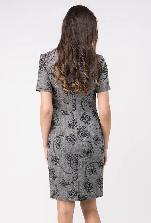 Rochie office gri cu imprimeu floral negru Eloise