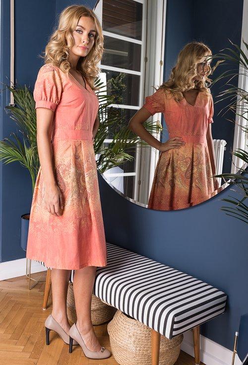 Rochie portocalie din bumbac cu imprimeu floral Sophie