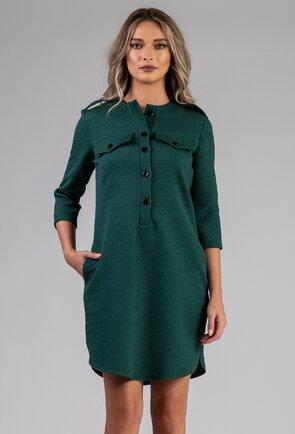 Rochie verde cu nasturi in partea din fata