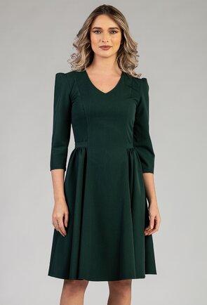 Rochie verde cu pliuri laterale si umeri bufanti