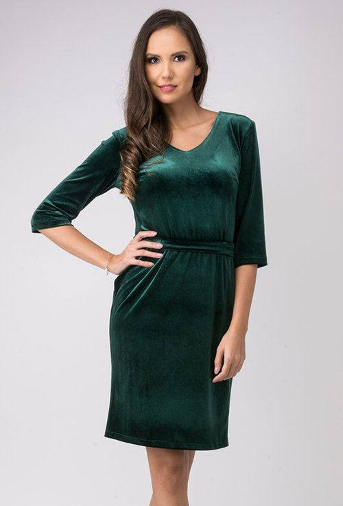 Rochie verde smarald din catifea Rose