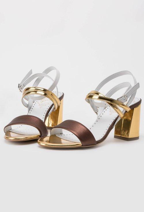 Sandale aurii din piele naturala cu alb si aramiu metalizat  Elys