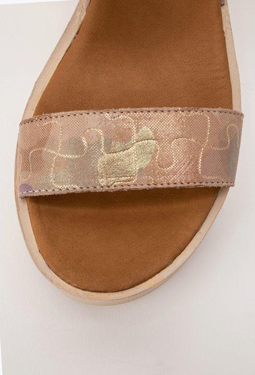 Sandale bej din piele naturala cu imprimeu tip puzzle Daria