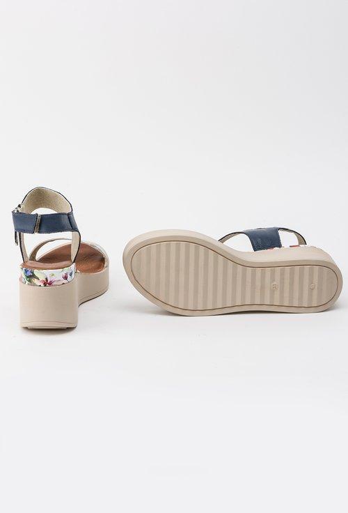 Sandale navy cu alb si imprimeu floral din piele naturala Dotty