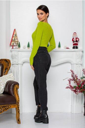 Blugi Utica negri momfit cu design stilizat in talie