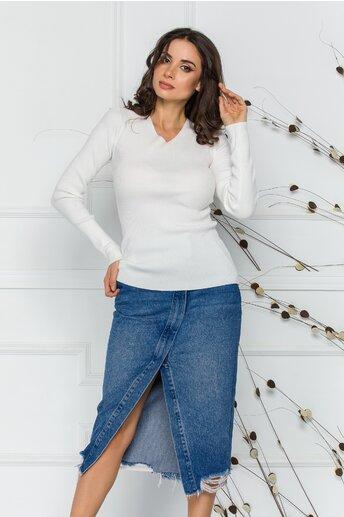 Bluza Adriana alba din tricot reiat