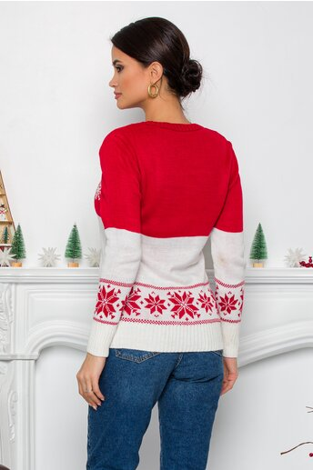 Bluza alb si rosu cu ren si imprimeuri de iarna