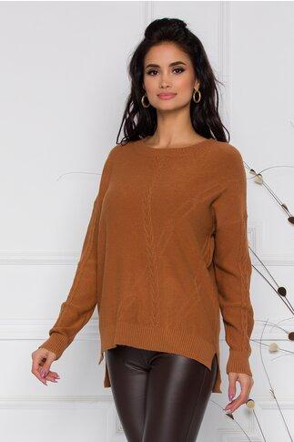 Bluza Aria maro camel din tricot cu impletitura discreta