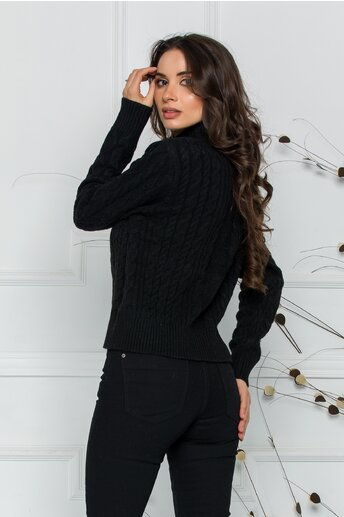 Bluza Ariana neagra cu design impletit