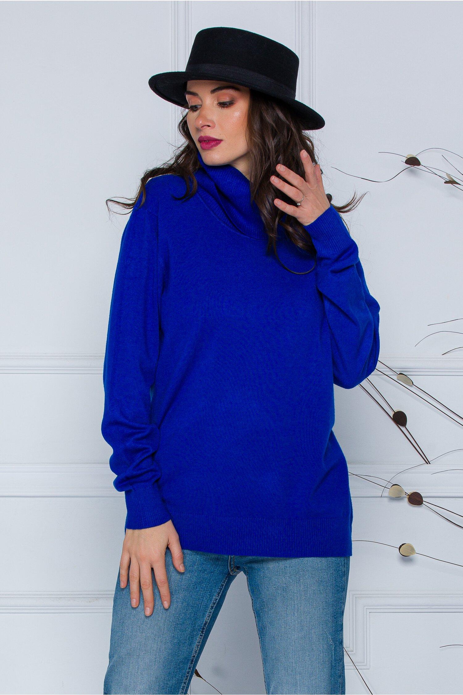 Bluza Cami albastra cu guler maxi imagine