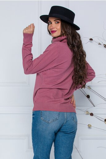 Bluza Cami roz prafuit cu guler maxi