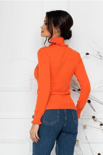 Bluza Cara orange cu guler si mansete incretite