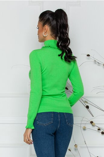 Bluza Cara verde crud cu guler si mansete incretite