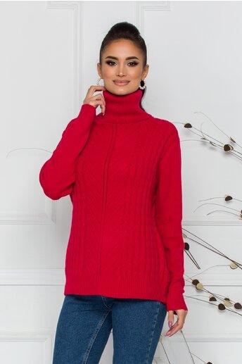 Bluza Carmen rosie cu guler inalt si design impletit