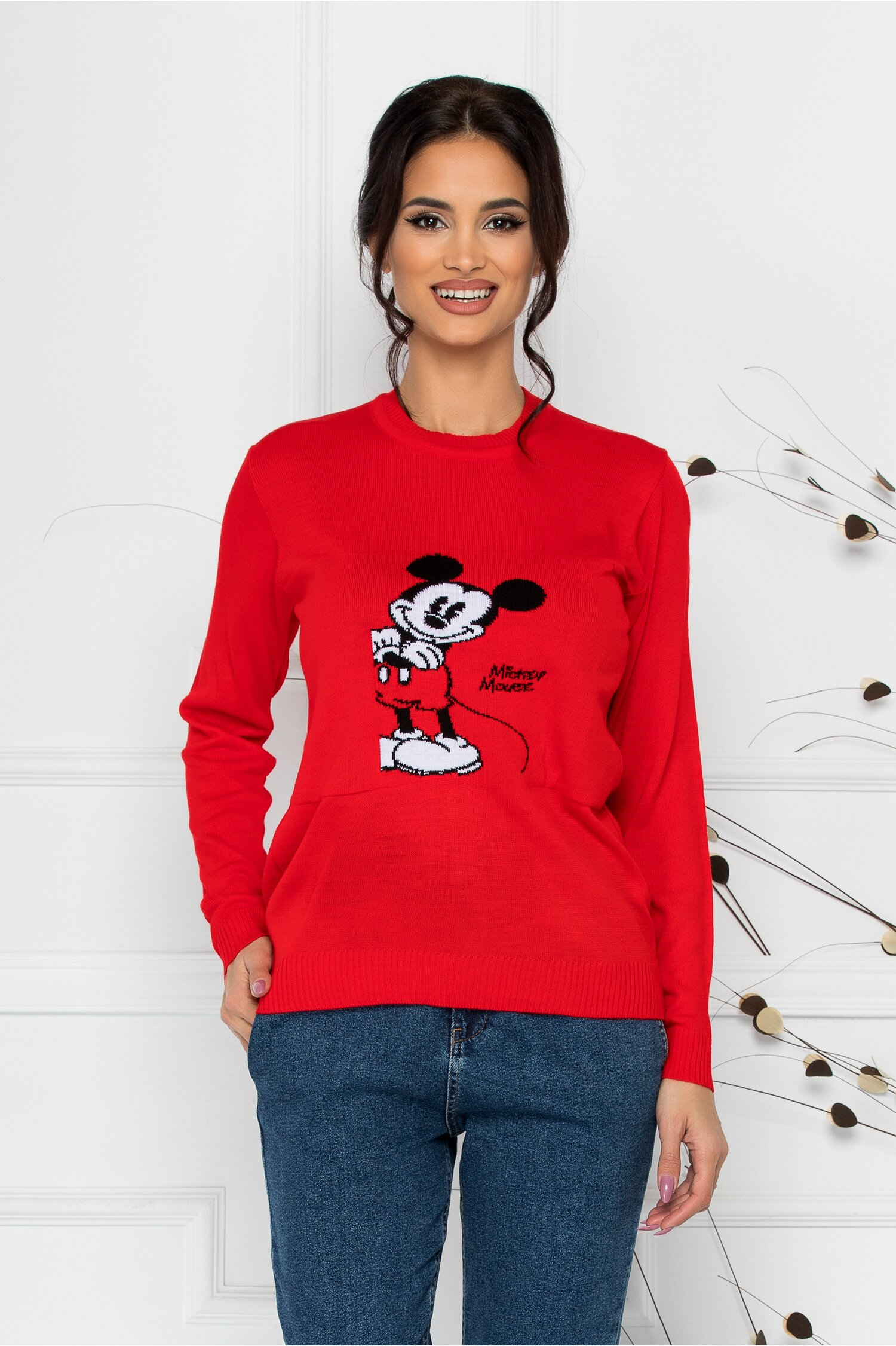 Bluza casual rosie cu Mickey Mouse