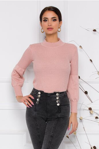 Bluza Catrina roz cu baza manecilor bufanta