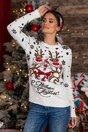 Bluza Christmas alba cu imprimeu de iarna