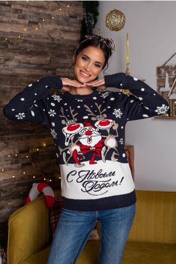 Bluza Christmas bleumarin cu imprimeu de iarna