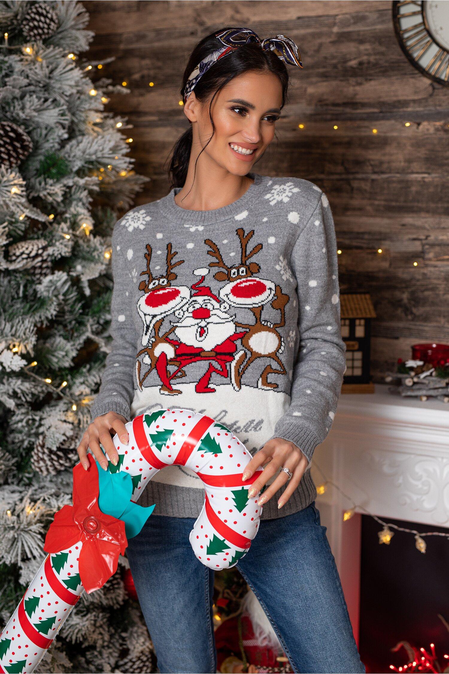 Bluza Christmas gri cu imprimeu de iarna Idei Cadouri de Craciun Online
