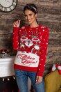 Bluza Christmas rosie cu imprimeu de iarna