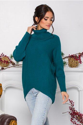 Bluza Daiana albastru petrol din tricot cu textura reiata la guler si maneci