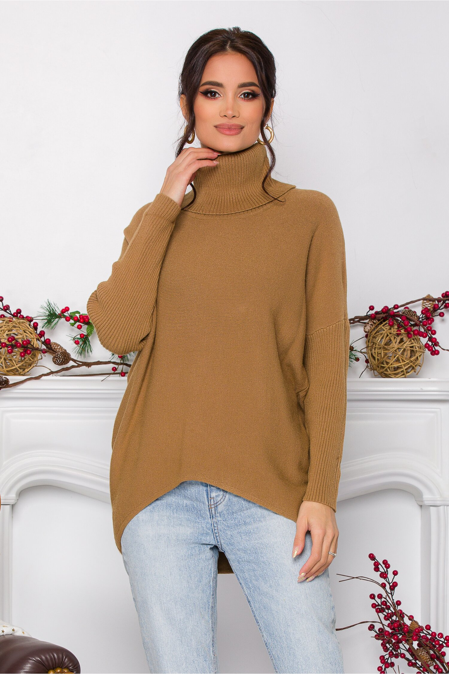 Bluza Daiana camel din tricot cu textura reiata la guler si maneci