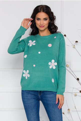 Bluza Dana verde mint cu flori