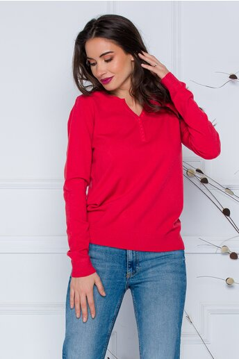 Bluza Dara caramizie cu nasturi discreti la decolteu