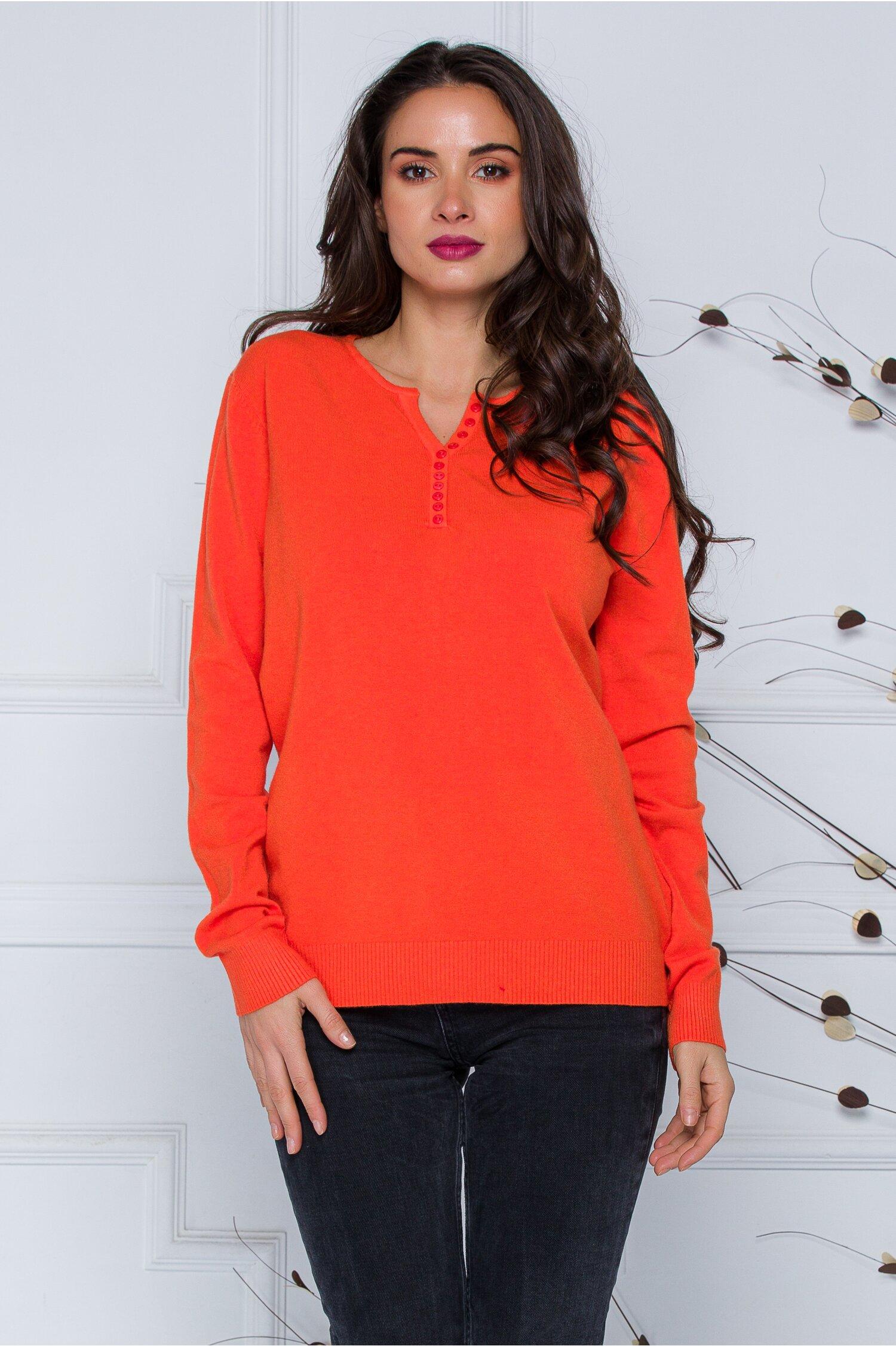 Bluza Dara orange cu nasturi discreti la decolteu imagine