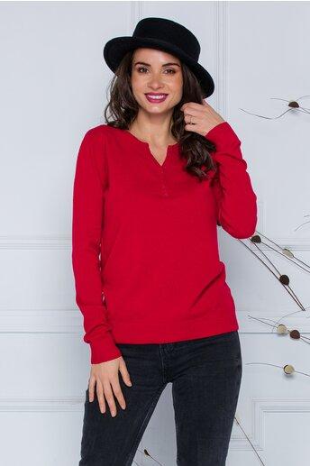 Bluza Dara rosie cu nasturi discreti la decolteu