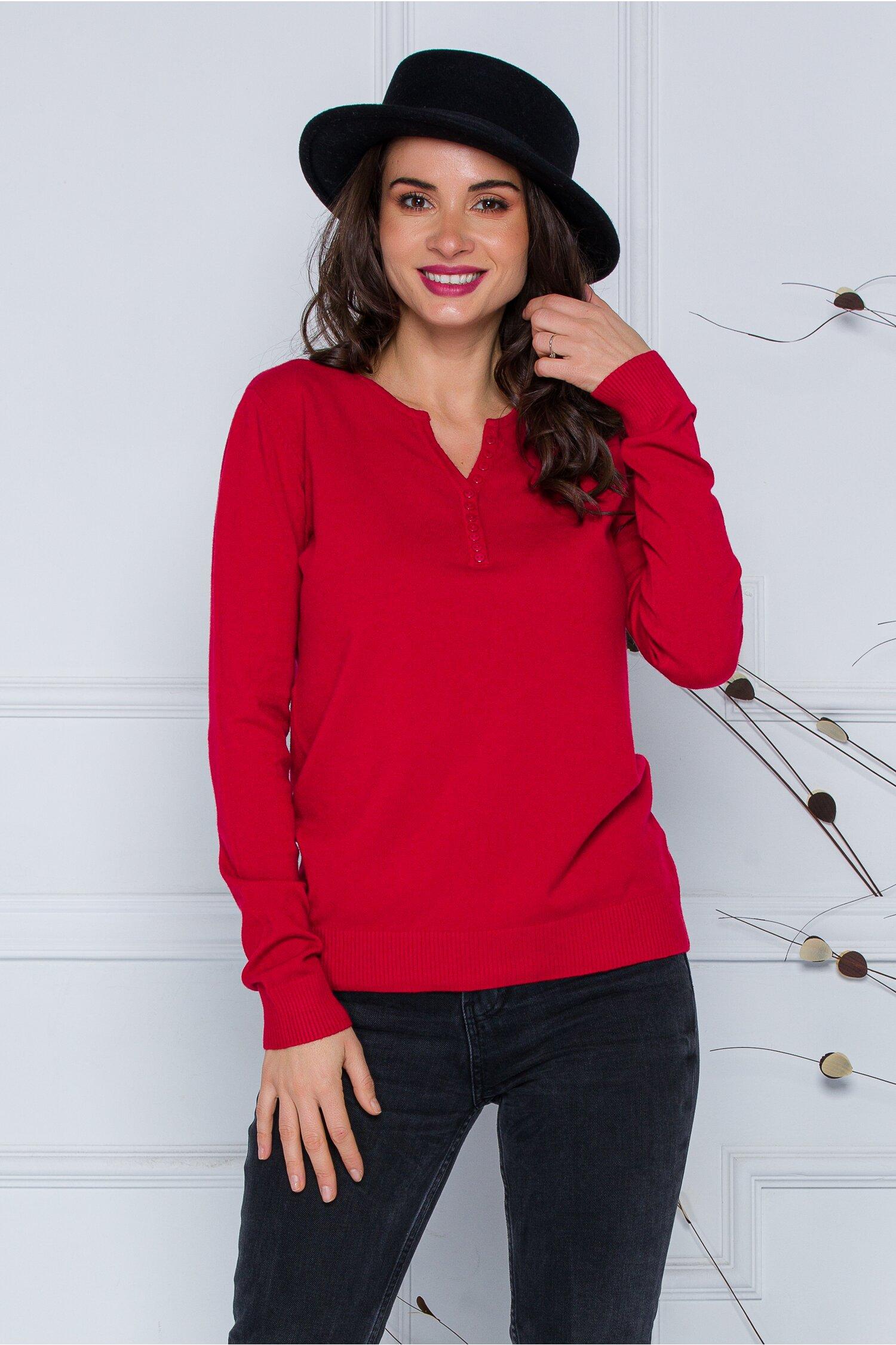 Bluza Dara rosie cu nasturi discreti la decolteu imagine
