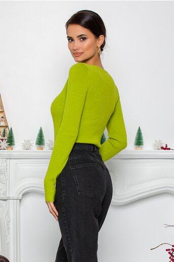 Bluza Dara verde lime din tricot reiat