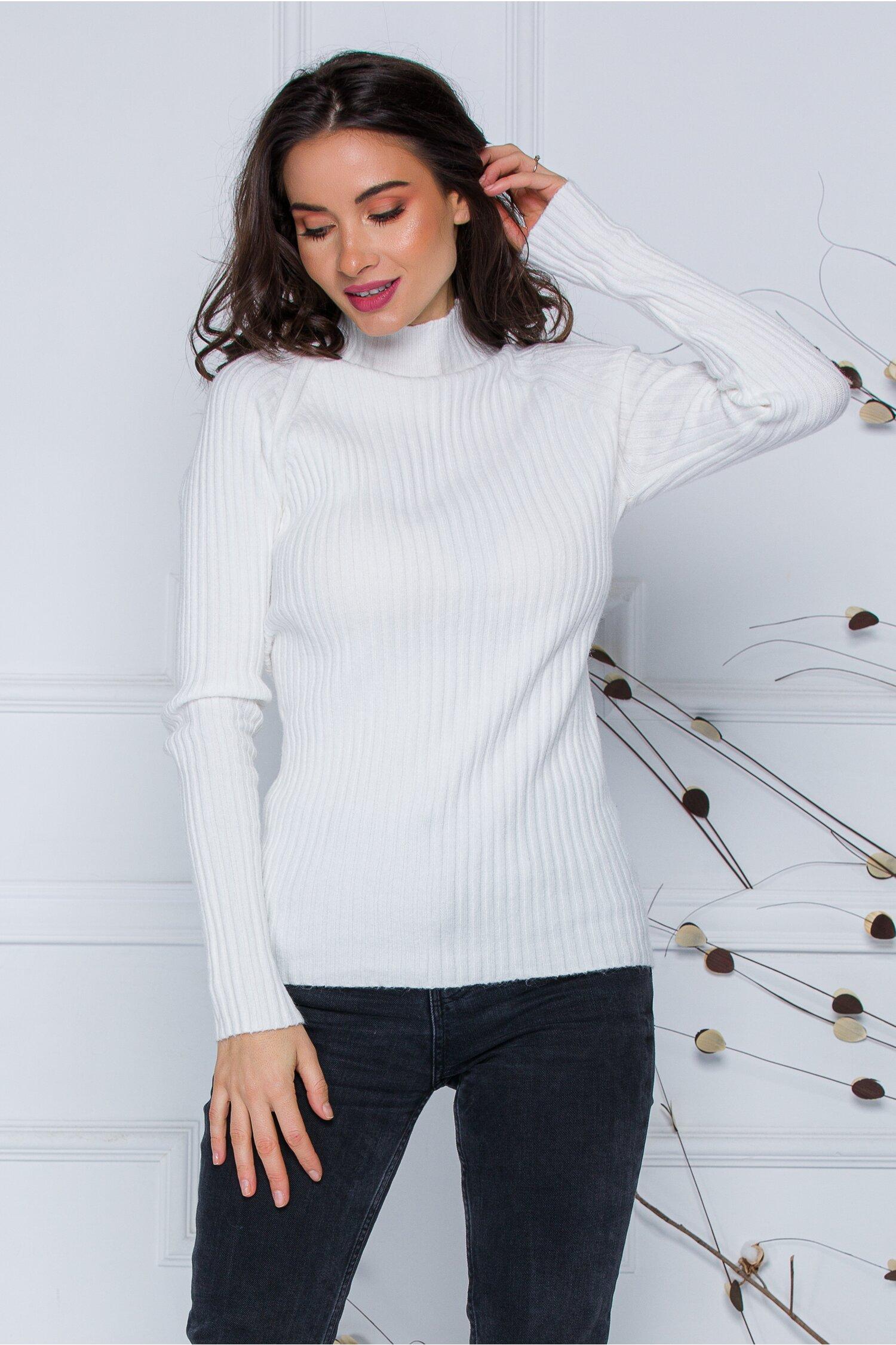 Bluza Daria alba din tricot reiat imagine