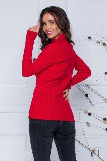 Bluza Daria rosie din tricot reiat