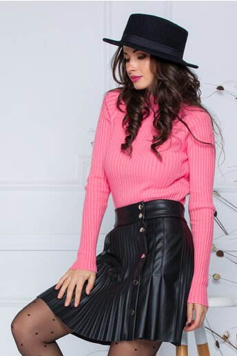Bluza Daria roz somon din tricot reiat