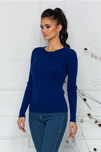 Bluza Dina albastra cu textura structurata