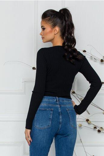 Bluza Dina neagra cu textura structurata