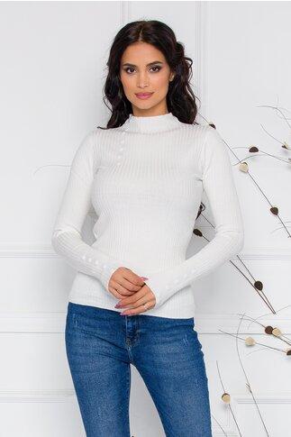 Bluza Dora alba din tricot reiat cu nasturi delicati la bust