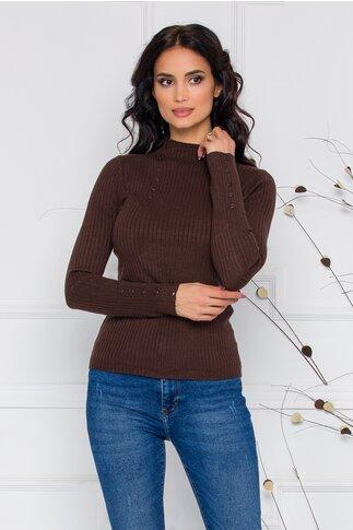 Bluza Dora maro din tricot reiat cu nasturi delicati la bust