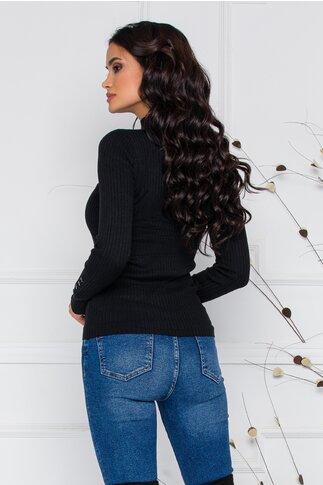 Bluza Dora neagra din tricot reiat cu nasturi delicati la bust