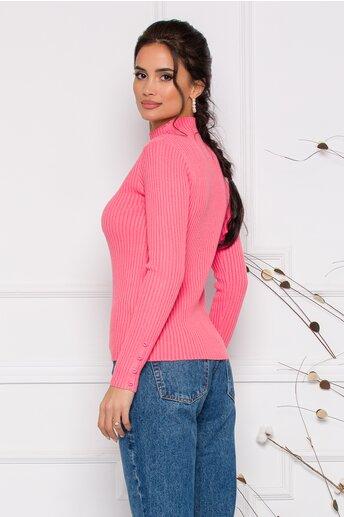 Bluza Dora roz somon din tricot reiat cu nasturi delicati la bust